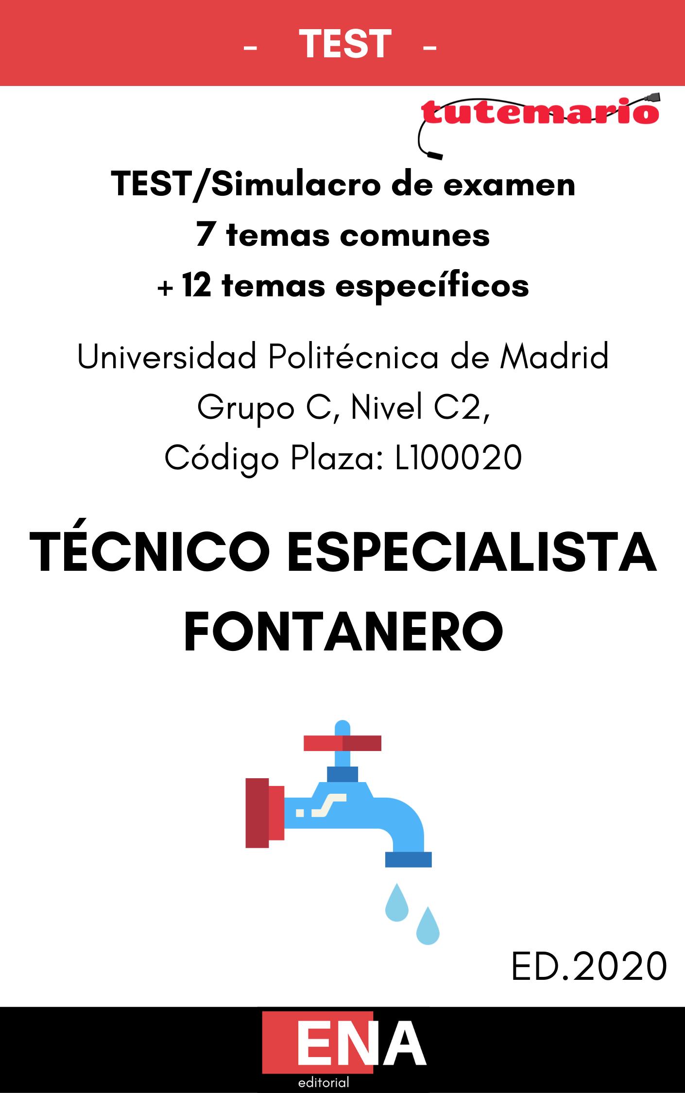 Test Oposiciones Fontanería Universidad Politécnica De Madrid 796 Preguntas Formato Encuadernado Tutemario