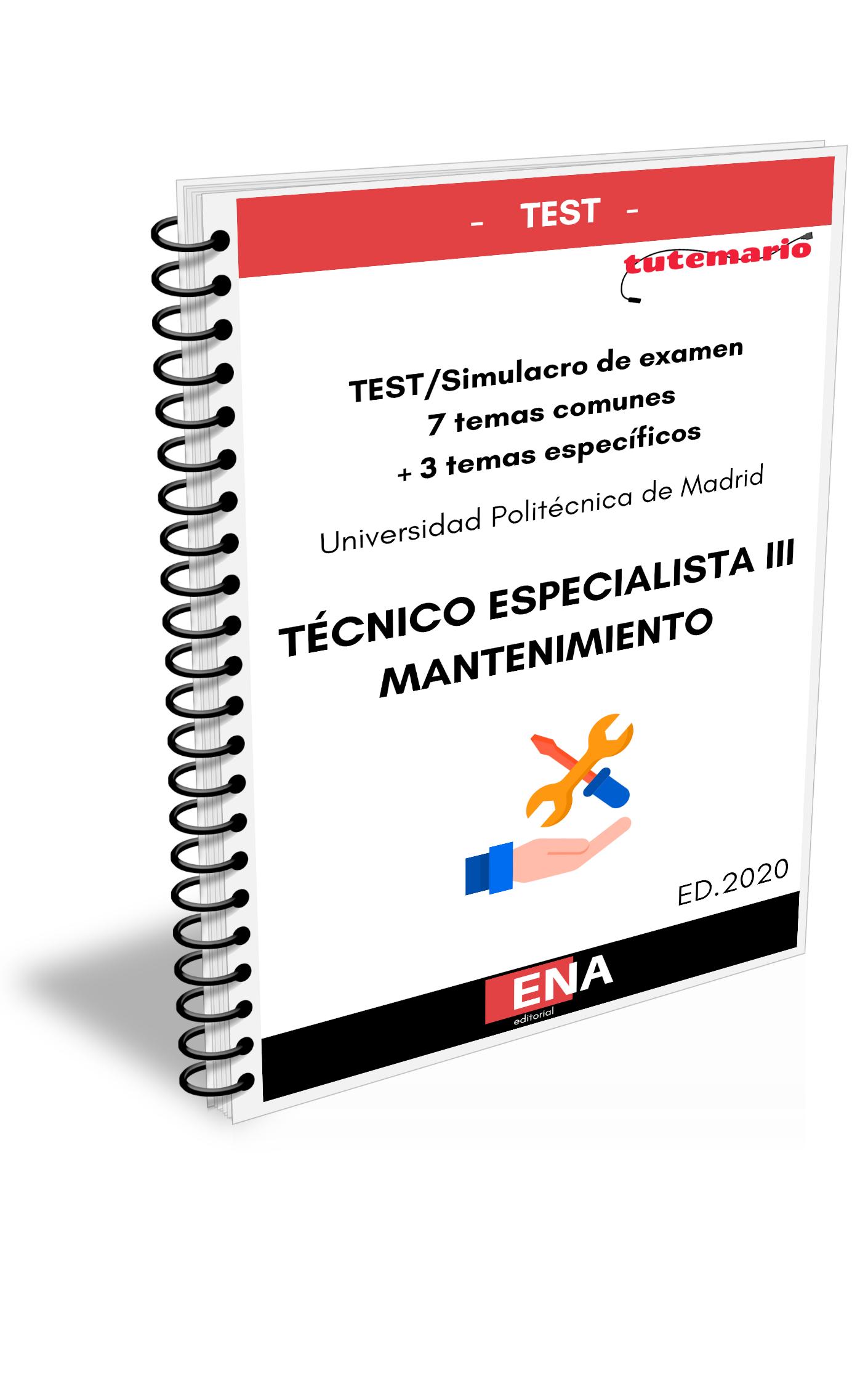 Test Simulacro De Examen Oposiciones Personal De Mantenimiento Universidad Politécnica De Madrid Formato Encuadernado Tutemario